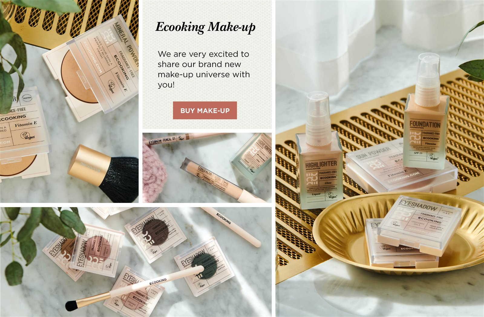 Collage of Ecooking's frargance-free and vegan makeup products